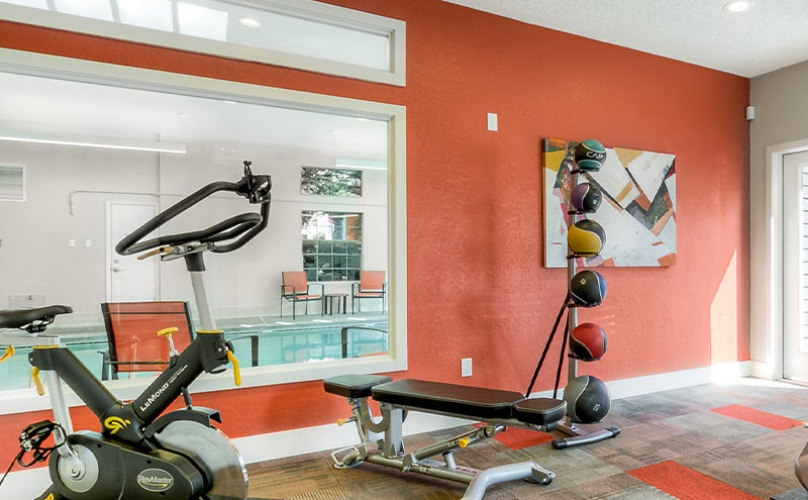 Fitness center with free weights and cardio machines